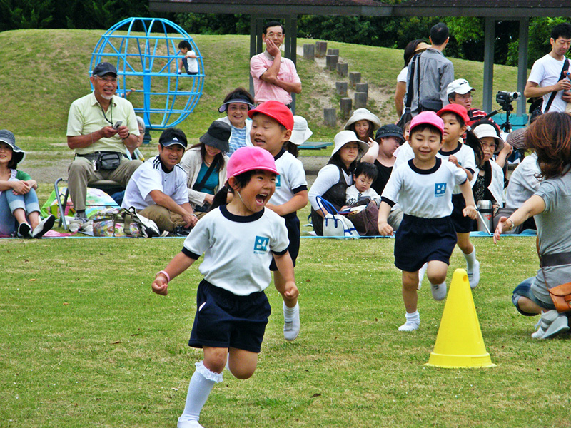 Children running a race