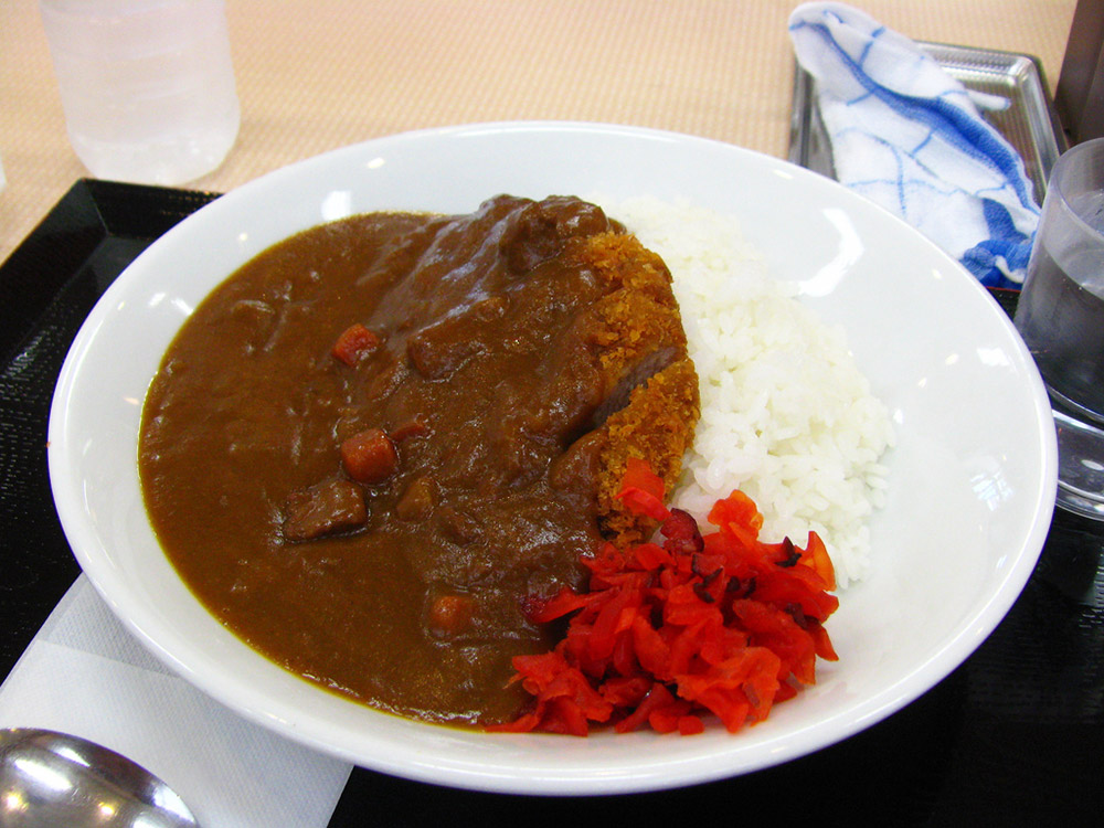 japanese curry and rice on a white plate
