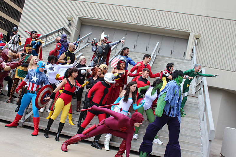 cosplayers dressed as Marvel superheroes the Avengers