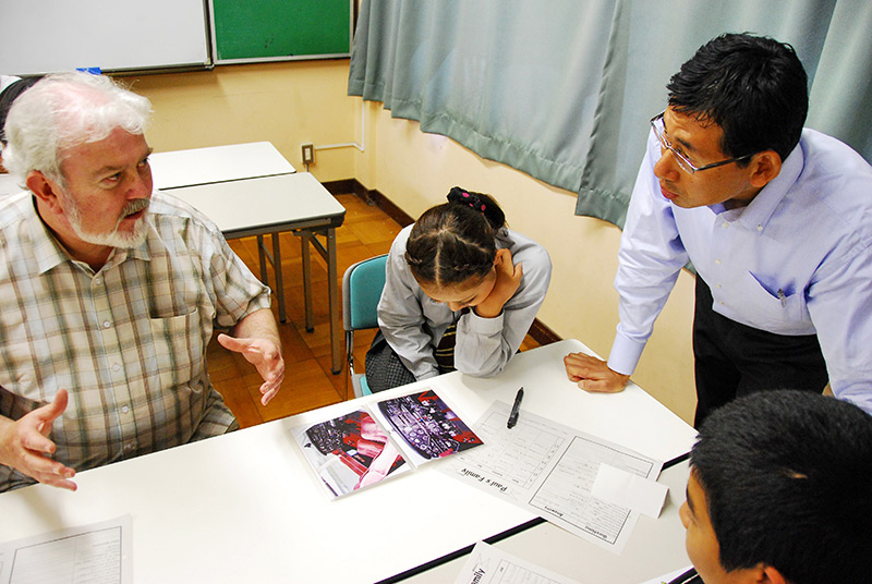 Japanese students studying at a junior high night school