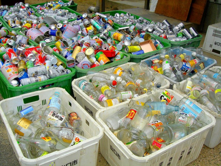 Japanese garbage sorted by type inside plastic containers
