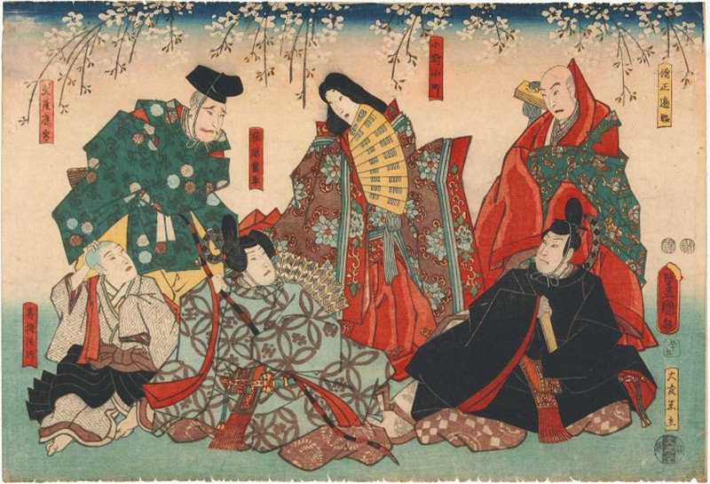 woodblock print of Ono no Komachi at court in Heian