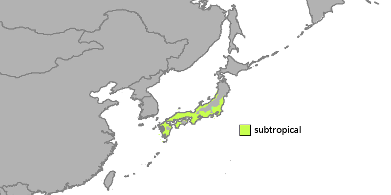 Map about the central and southwestern Japan climate