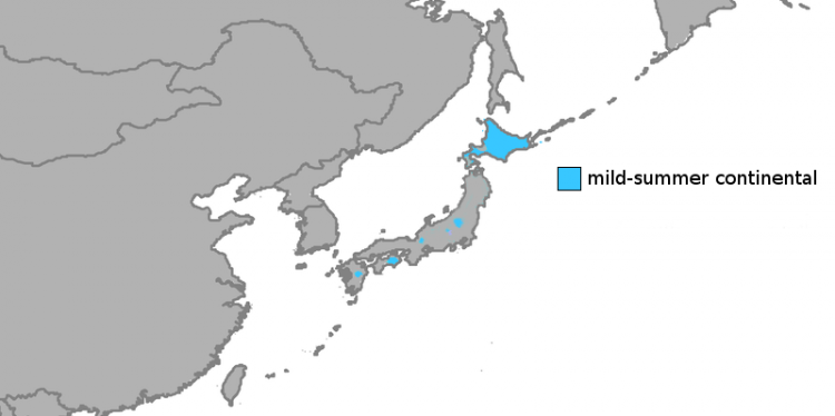 A map giving an overview of the climate in Hokkaido