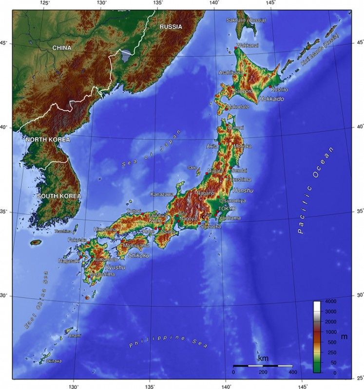 A topographical map covering Japan