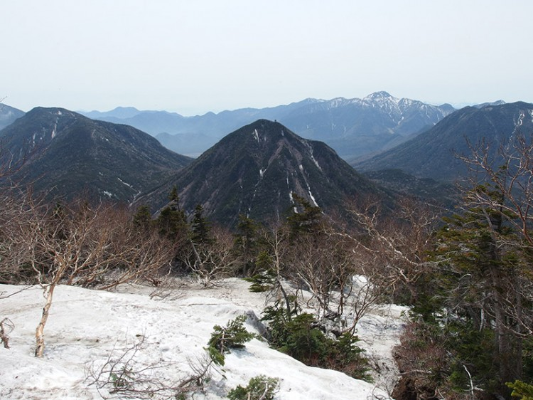 Mountains surrounding Mount Nyoho covered in snow