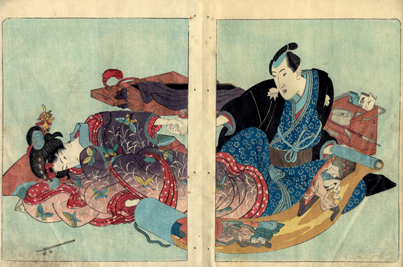 man and woman looking at shunga together