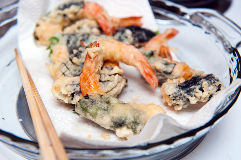 japanese tempura with kombu seaweed