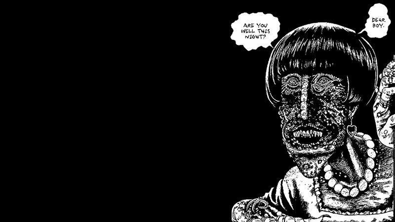 black & white horror illustration