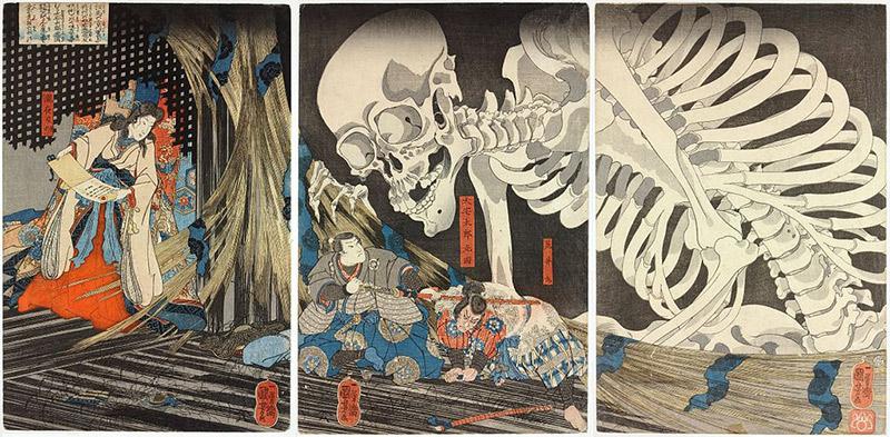 painting of witch and giant yokai skeleton