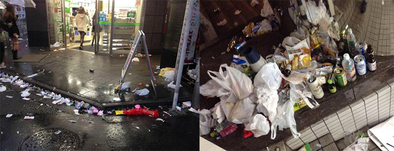 japanese streets covered in trash after halloween