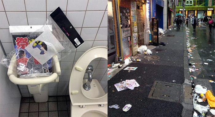 tokyo bathroom and streets filled with trash after halloween