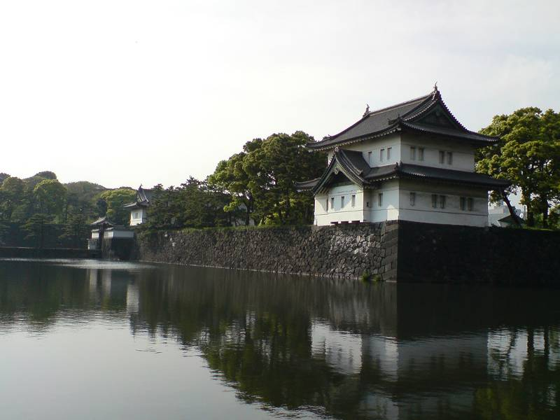 Moat around a Japanese-style castle