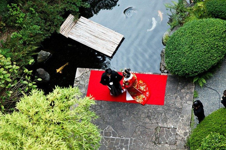 japanese wedding from above