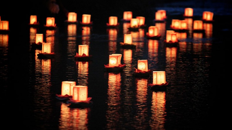 lanterns on the water