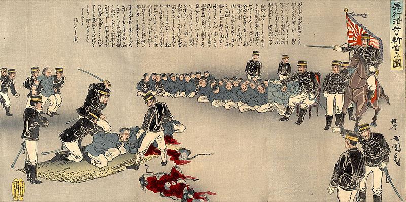 Japanese soldiers behead prisoners in 1894