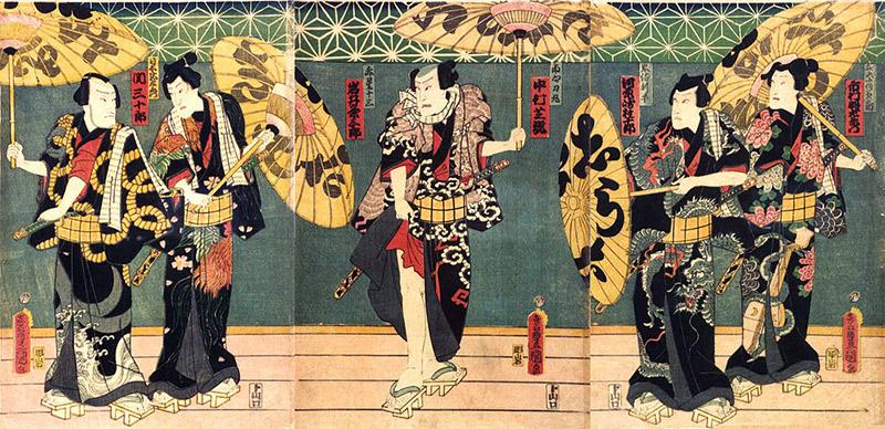 Samurai with parasols in Edo