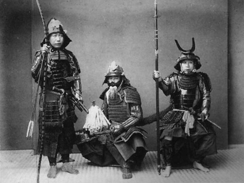 Samurai from the Meiji era posing