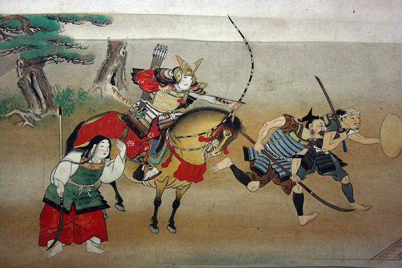 "An illustration of ""Night Attack on Yoshitsune's Residence at Horikawa"""