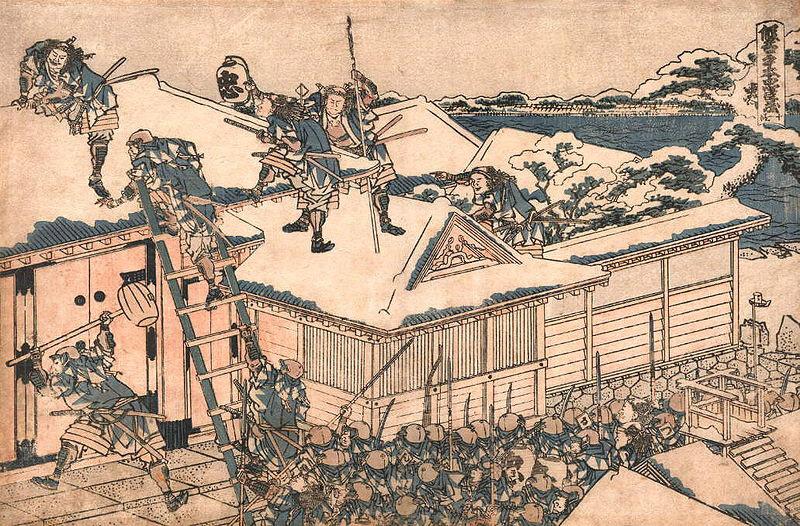 Samurai besieging a castle by Hokusai