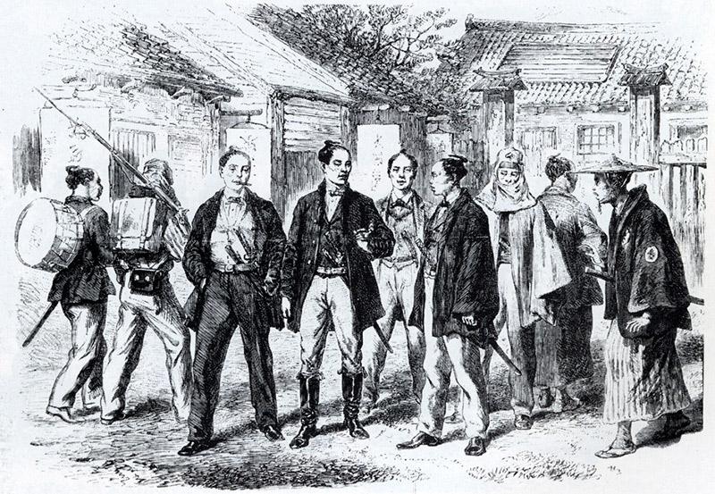 Westernized samurai walking around in 1866