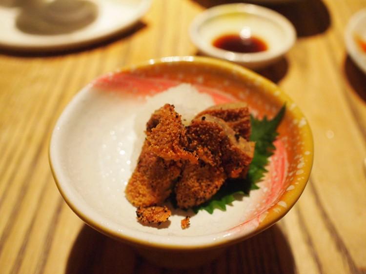 red fish eggs fugu fish eggs on plate