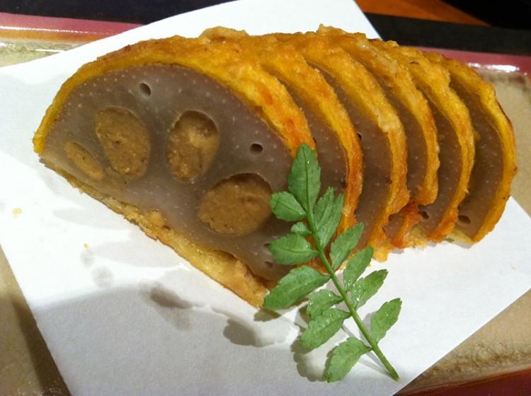 stuffed fried lotus root renkon japanese food