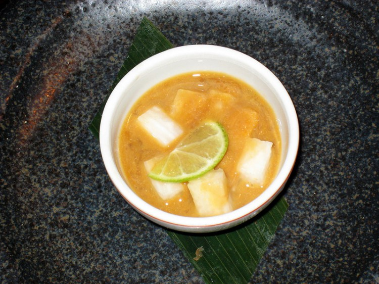 japanese delicacy konowata yellow soup in bowl