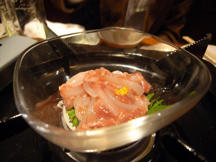 bonito fish entrails raw fish in bowl