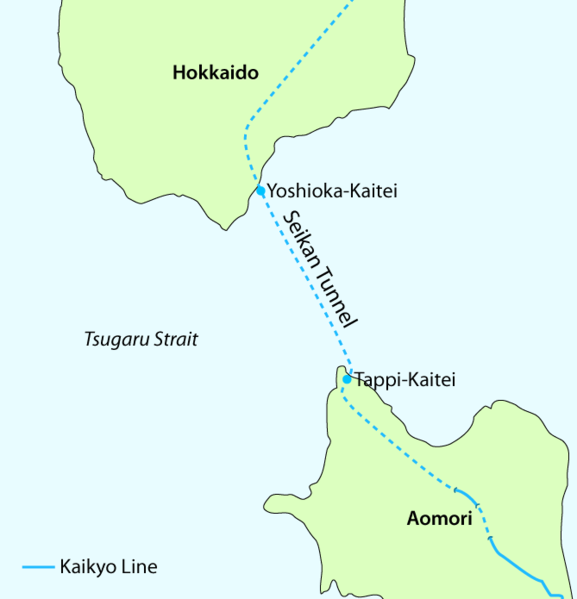 map showing seikan tunnel