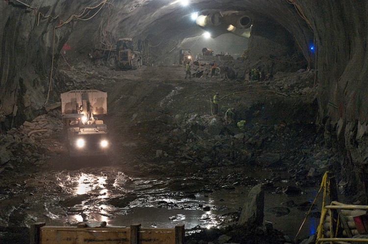 excavating an underground tunnel