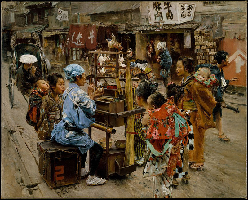 painting of Japanese confectioner working at street stall