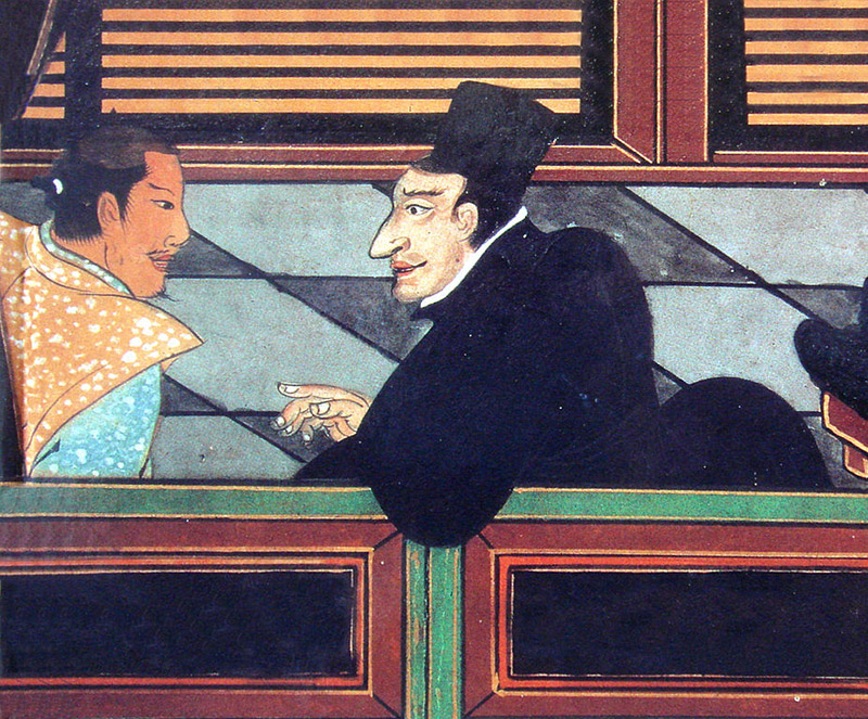 painting of a Jesuit talking to a Japanese nobleman