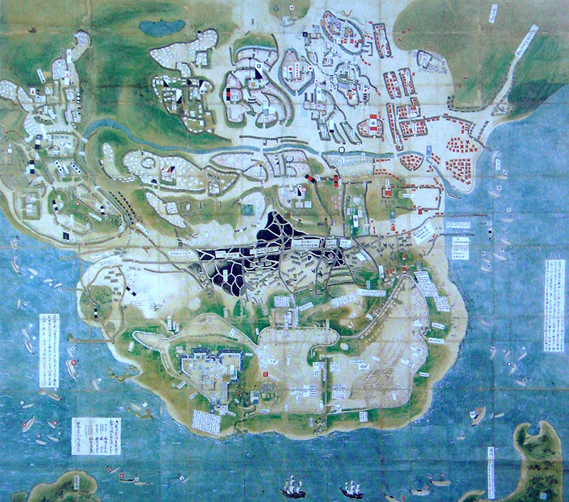 old illustrated map of the siege of Hara Castle