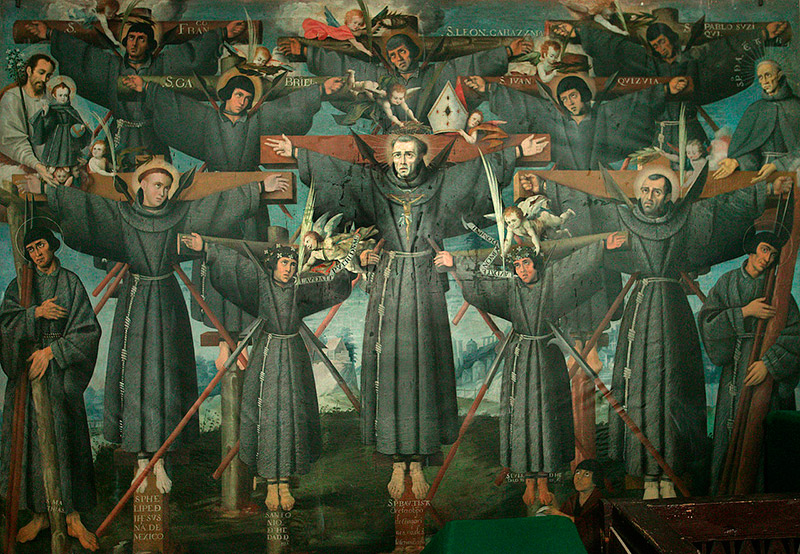 painting of martyred Christian monks on crosses