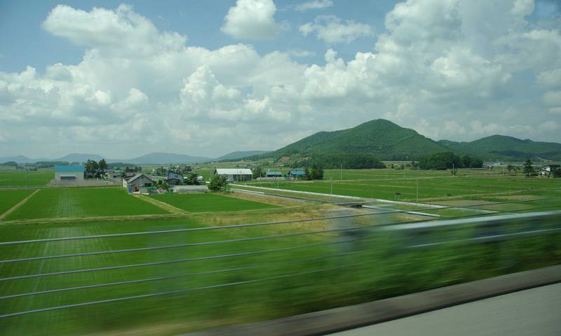 view from shinkansen bullet train window hokkaido rice paddies