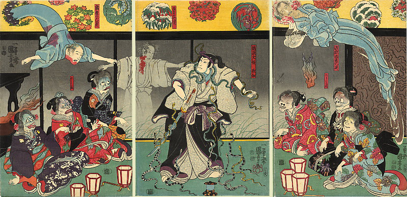 japanese art four panels red ghost themed
