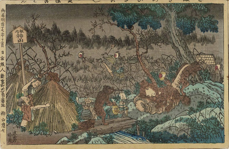 ukiyo-e print of tanuki at night