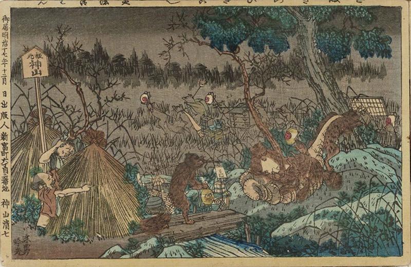 ukiyo-e print of tanuki at night