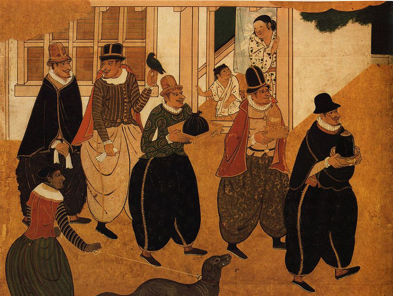 Woodblock print of Westerners arriving in Japan in the 17th century