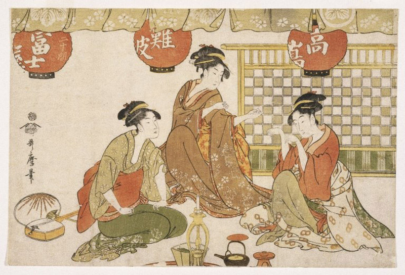 Woodblock print of Japanese women conversing with each other