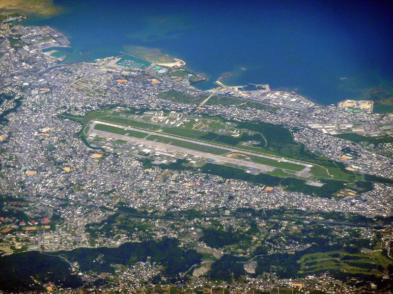 an upside down picture of okinawa densely populated