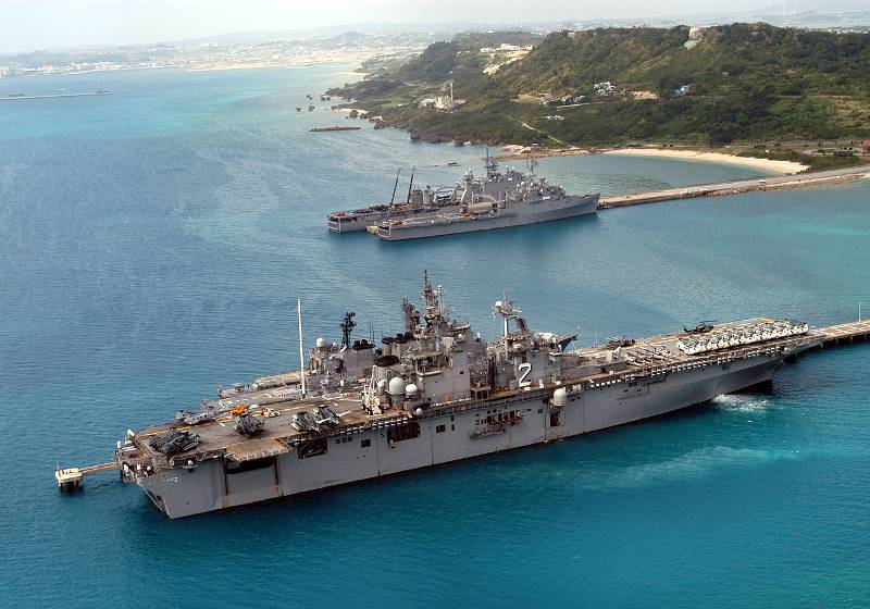 american military ship in blue warm okinawa water