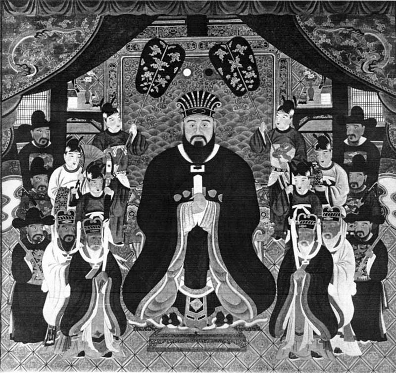 black and white japanese art of king of okinawa