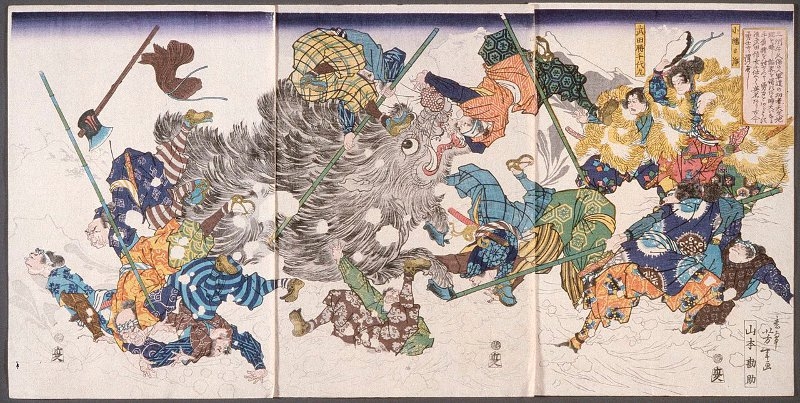 Traditional painting of men killing an inoshishi