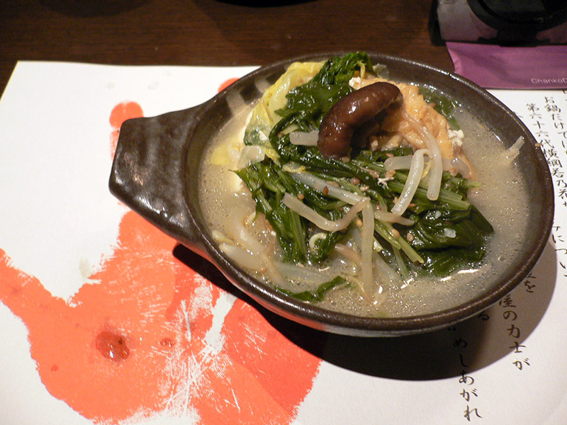 chanko nabe served in wooden bowl