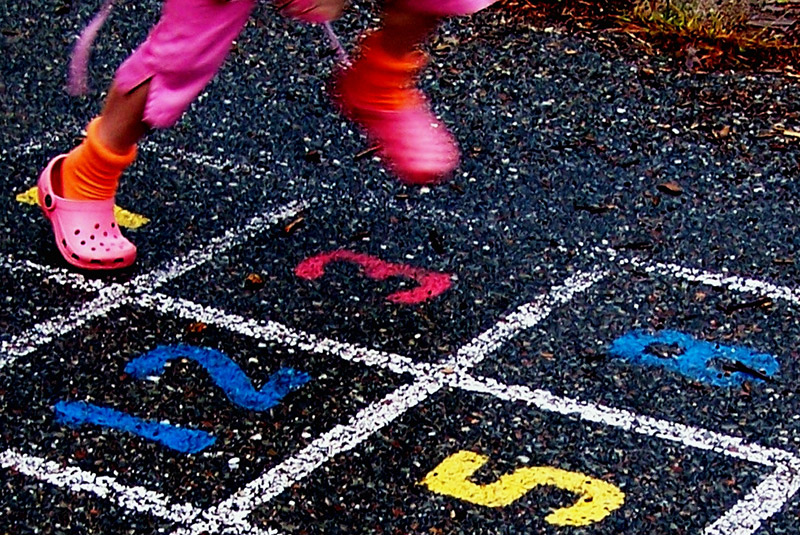 multi-colored hopscotch square