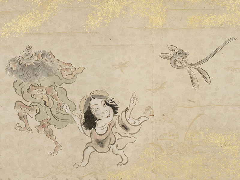 Japanese painting of child spirit and dragonfly
