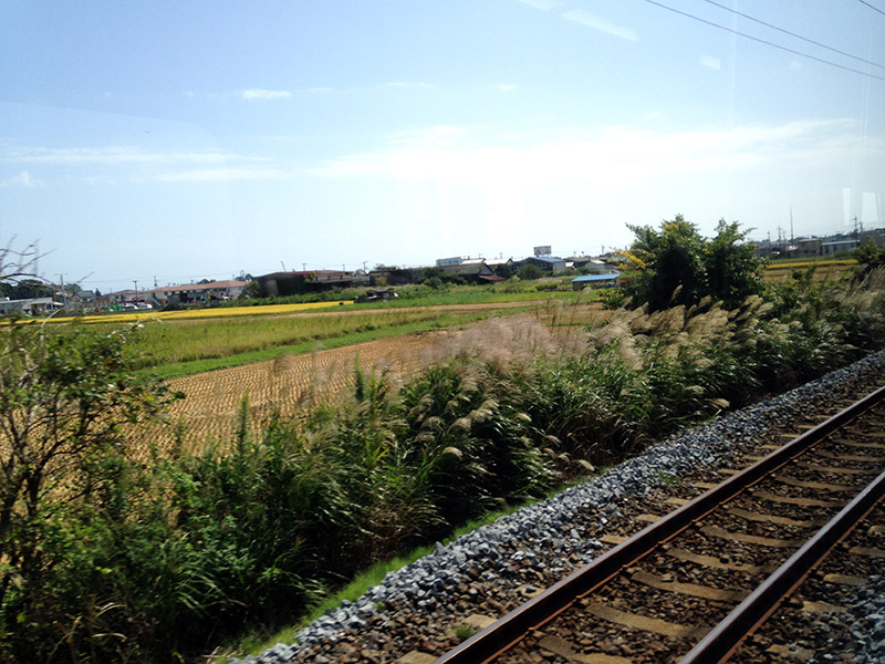 japan blurry countryside seen from a train