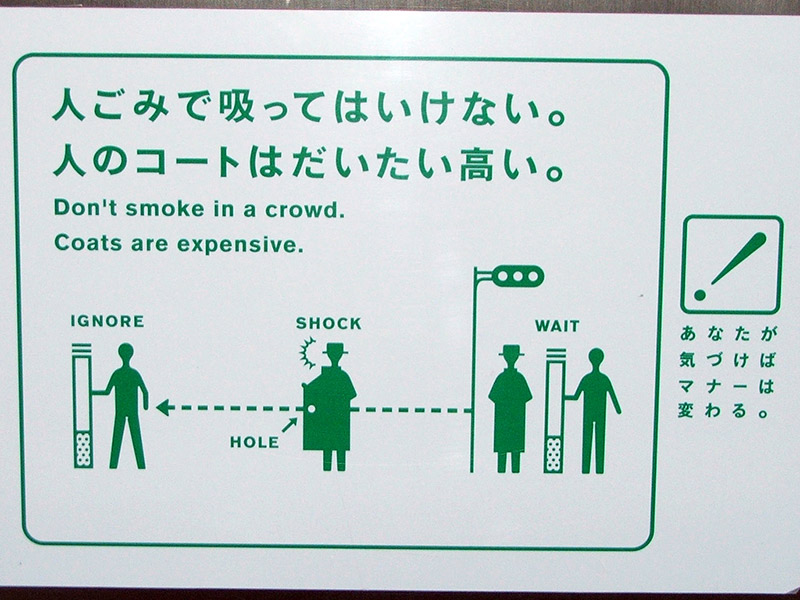 Sign warning against smoking in crowded areas